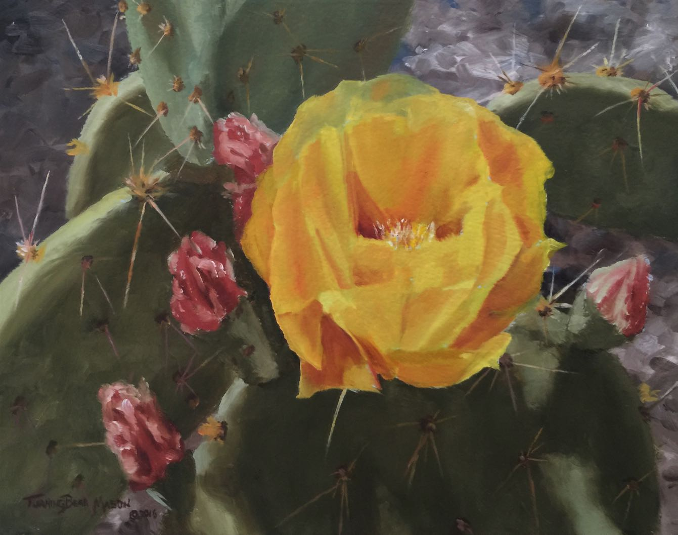 Blooming Prickly Pear 8x10""