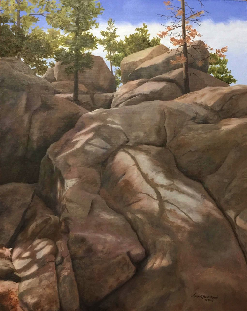 Shadowed Boulders 16x20""
