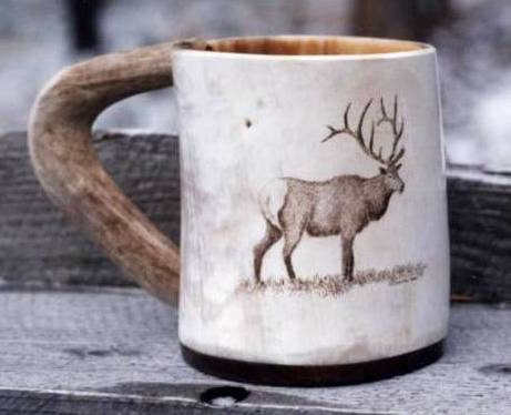 Elk on Horn Cup